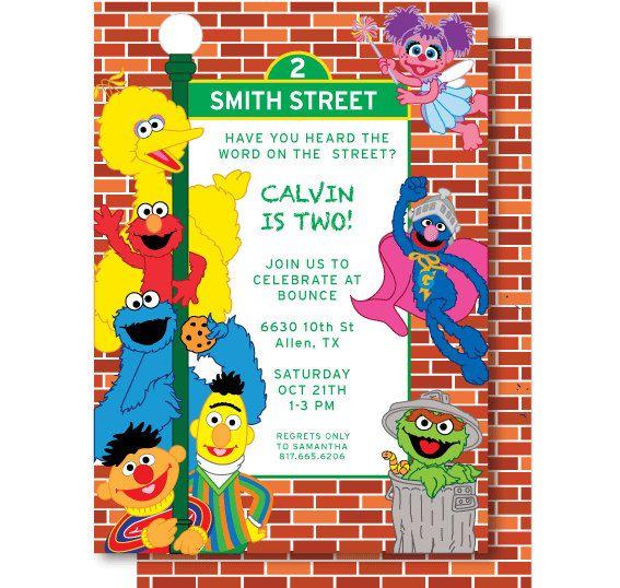 Sesame Street Birthday Invitations By DelightPaperie On Etsy