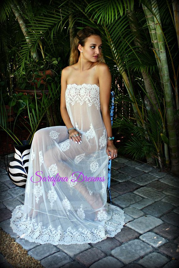 3d64321d99a White Lace and Nylon Nightgown Camille Innocence Nightgown Bridal ...