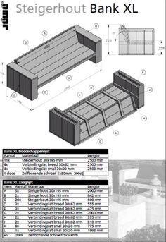 Met behulp van deze bouwtekening zelf een bank maken van for Steigerhout tuinmeubelen zelf maken