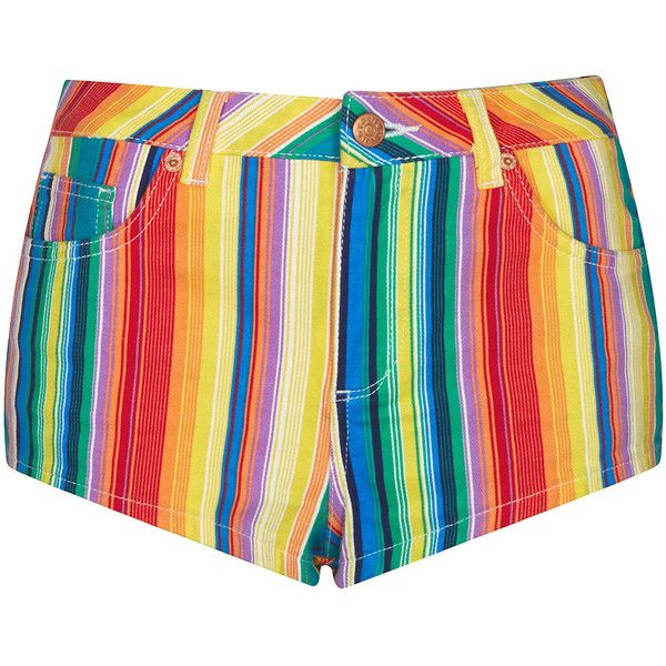 TOPSHOP MOTO Bright Stripe Hotpant ($23) ❤ liked on Polyvore featuring shorts, bottoms, pants, multi, micro shorts, mini shorts, hot cotton pants, hot shorts and multi colored shorts