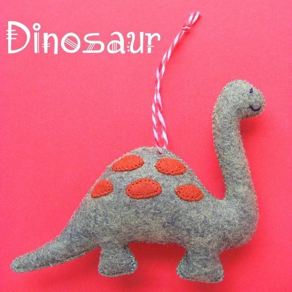 Felt dinosaur gift. Dinosaur Gingerbread Christmas decoration