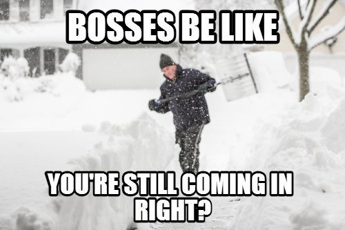 Do You Have A Snow Day Today January 3 2014 Parra Electric Inc Boss Humor Funny Memes About Work Work Humor