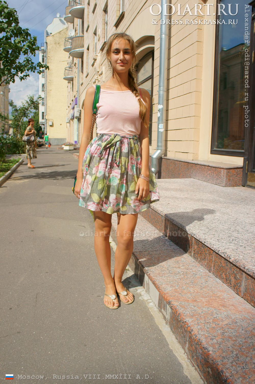 Russian Beauty With A Pigtail Rose Sleeveless Shirt And Summer Skirt Moscow Street Fashion