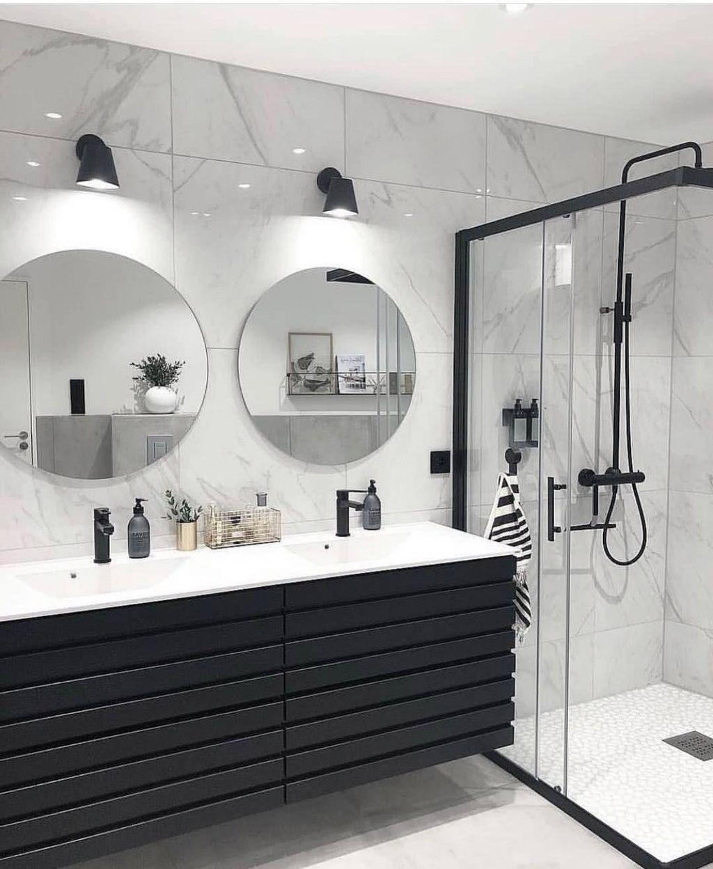 Wonderful Single Vanity Bathroom Design Ideas To Try 49 Round Mirror Bathroom Stylish Bathroom Bathroom Interior Design