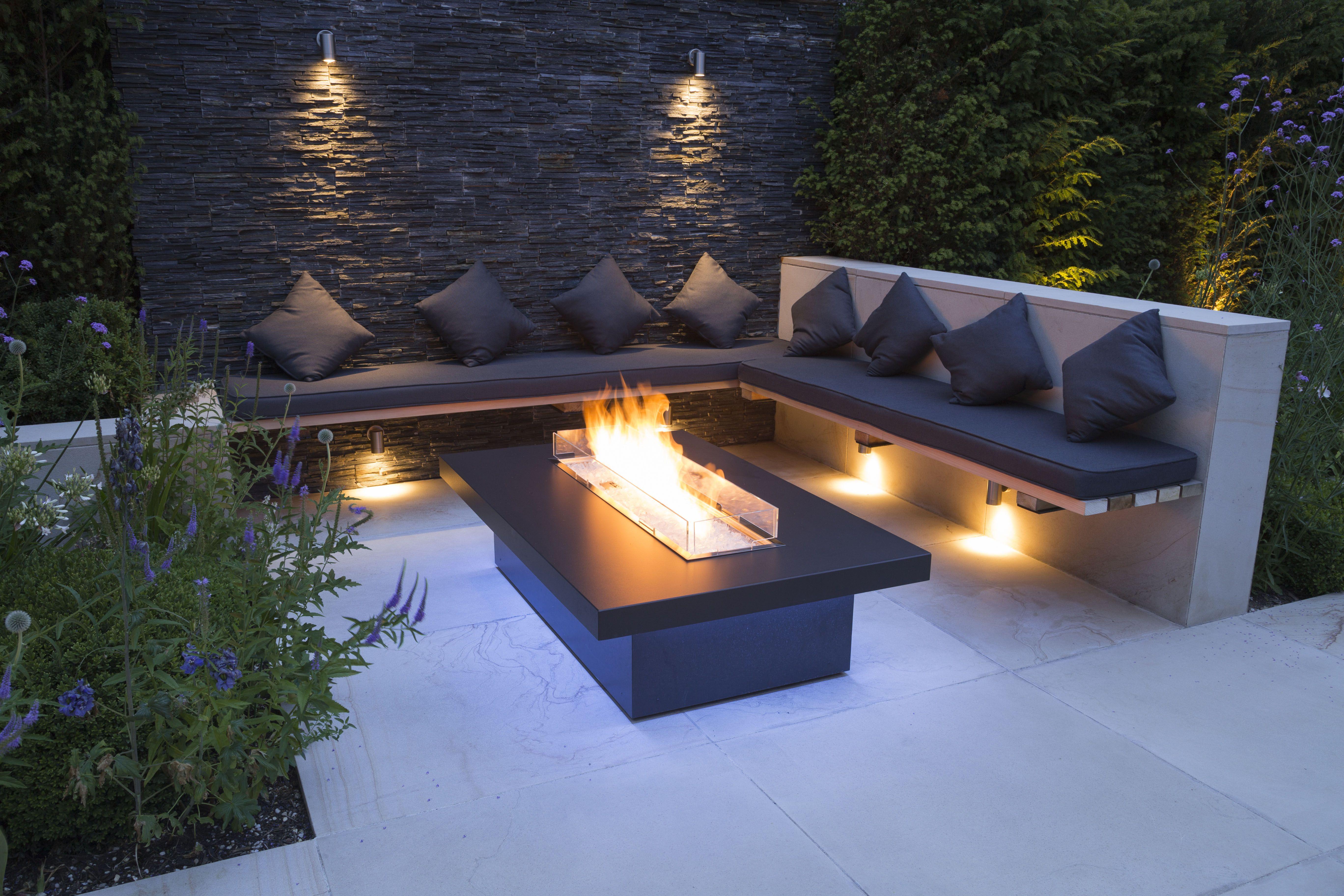 Outdoor Living Bespoke Seating Rivelin Firetable Outdoor Lighting Slate Feature Wall Contemporary Planting Backyard Patio Patio Design Backyard Seating