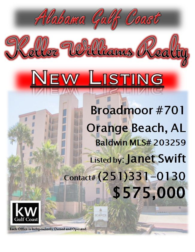 29250 Perdido Beach Boulevard, Broadmoor #701, Orange Beach, AL...MLS# 203259...$575,000...East corner, beach side 7th floor allows breath taking views along the beach, sun rises & nice breezes. North side views are just as nice looking over Ono Island & Ole River. Not an average condo a MUST see! You will not want to leave. Whether for you to enjoy or an investment THIS IS the one you want! See photo's and come see for yourself. Rental history available. Contact Janet Swift at…