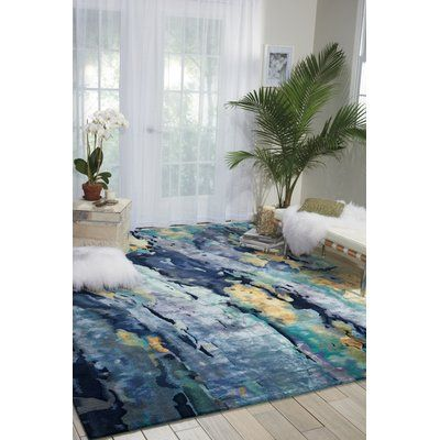 Annan Abstract Hand Tufted Multicolor Area Rug Area Rugs Blue Area Rugs Modern Area Rugs
