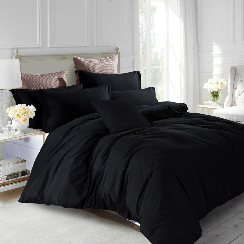 Marnisha 200 Tc Duvet Cover Set Black Bedding Black Bed Covers Duvet Cover Sets