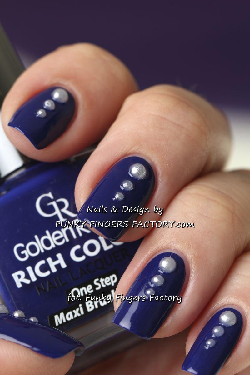 Dark Blue and Pearls evening nails by www.funkyfingersfactory.com ...