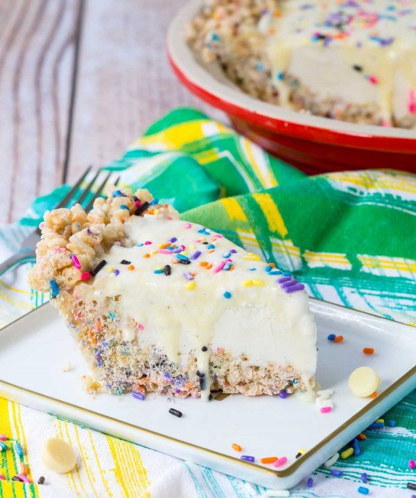 Sprinkle Ice Cream Pie Recipe with Rice Krispie Crust ...