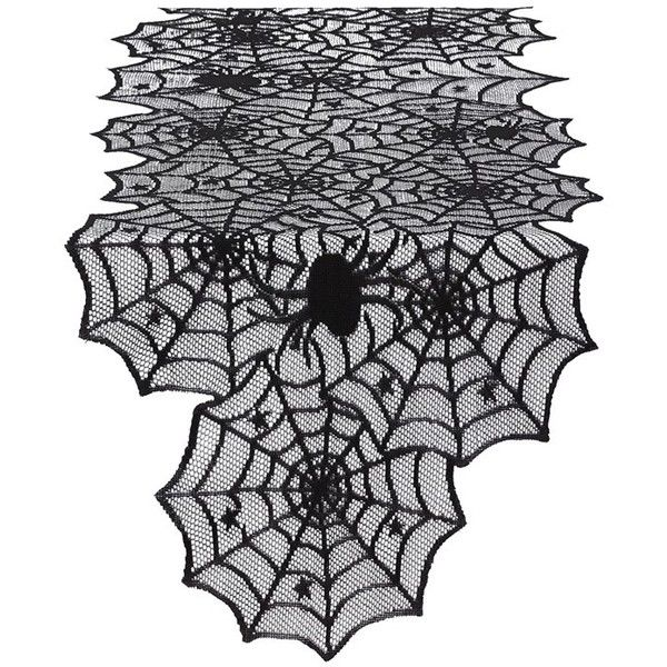 Design Imports Spider Web Lace Table Runner ($11) ❤ liked on Polyvore featuring home, kitchen & dining, table linens, black, halloween table runner, black table linens, lace table runner, black table runner and black lace table runner