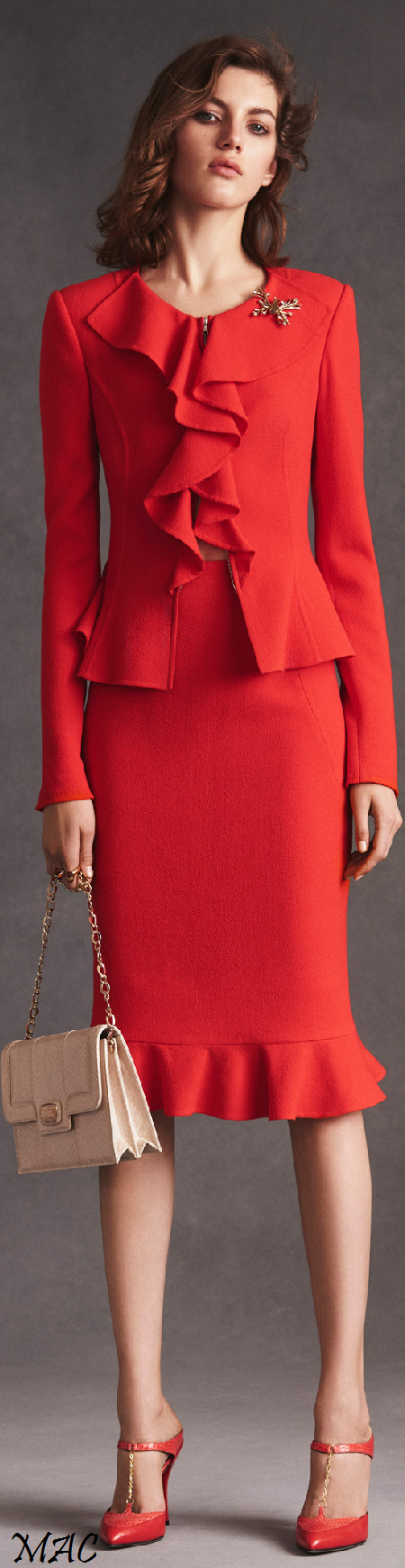 Oscar de la Renta ~ Resort Red Skirt Suit w Ruffle Trim 2016