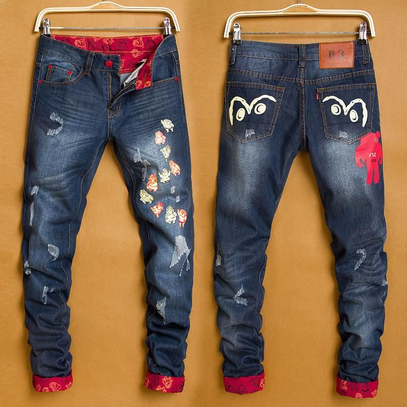 Top Mens Jeans Hole Patch Jeans Famous Brand Embroidery Beauty Men Straight Cotton Denim Jeans Large Size From Just_trust, $22.0   Dhgate.Com