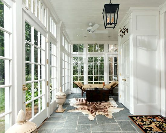 Lots Of Light Grey Slate Floor Sunroom Designs Sunroom Decorating House With Porch