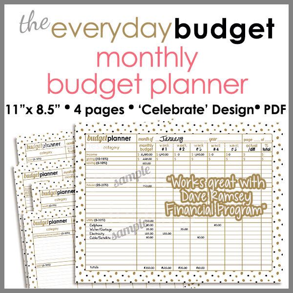 Gold  Black Celebration  Monthly Budget TrackerPlanner