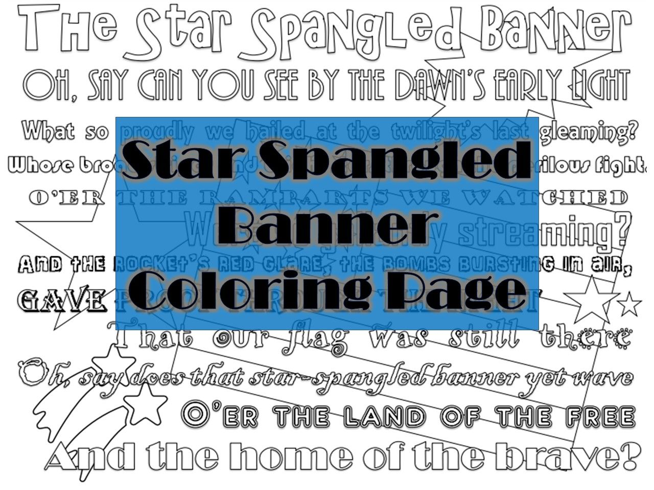 The Star Spangled Banner Coloring Page Star Spangled Banner