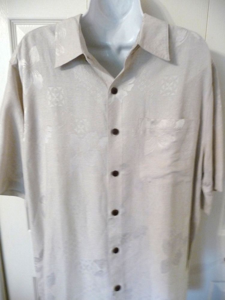 Caribbean Joe Mens Hawaiian  Shirt M Beige Textured Hibiscus 100% Silk #CaribbeanJoe #Hawaiian