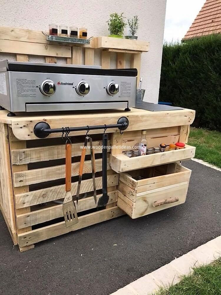 Recycled Wood Pallet Outdoor Kitchen Idea | Diy outdoor ...