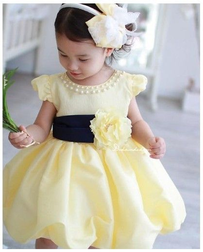 Girls Yellow Dress With A Cute Pearls Around The Collar For Wedding