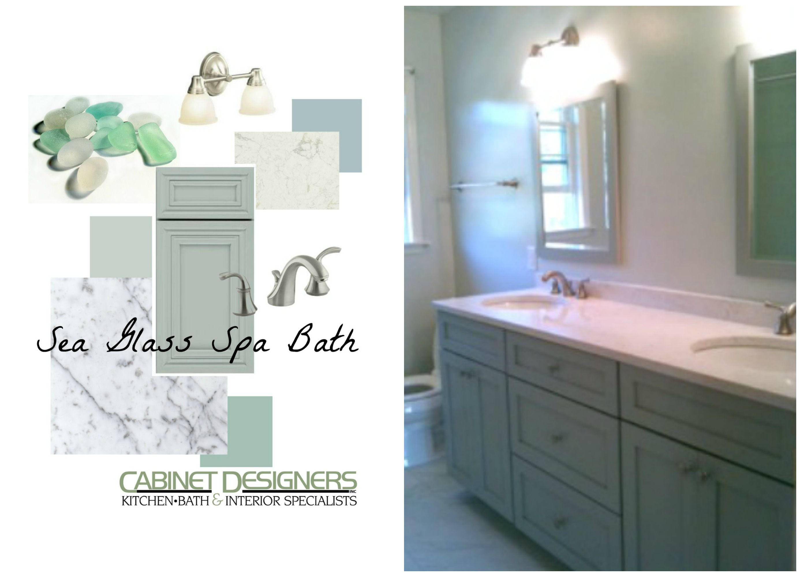 Bathroom Color Palette: Sea Glass Spa: Dynasty Rain vanity, Carrera ...