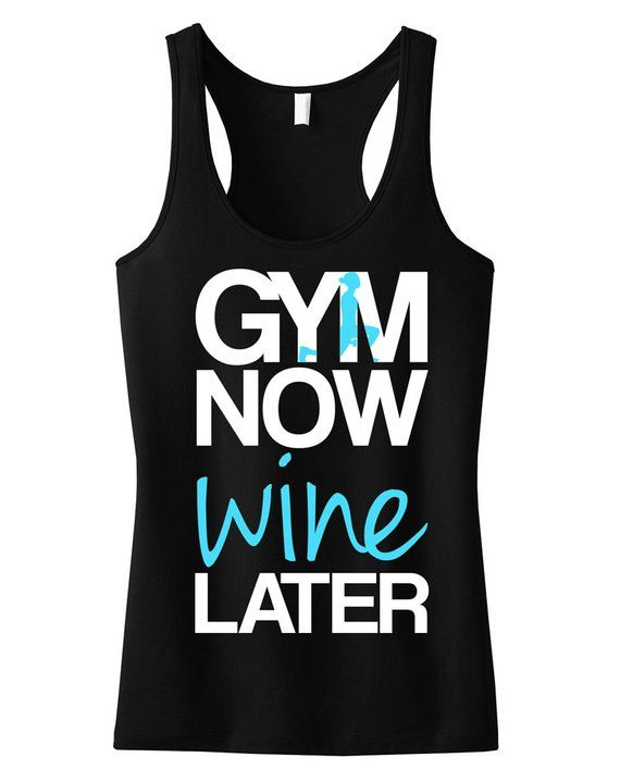 3f67936b9091 GYM Now WINE LATER Tank Top Black with Teal