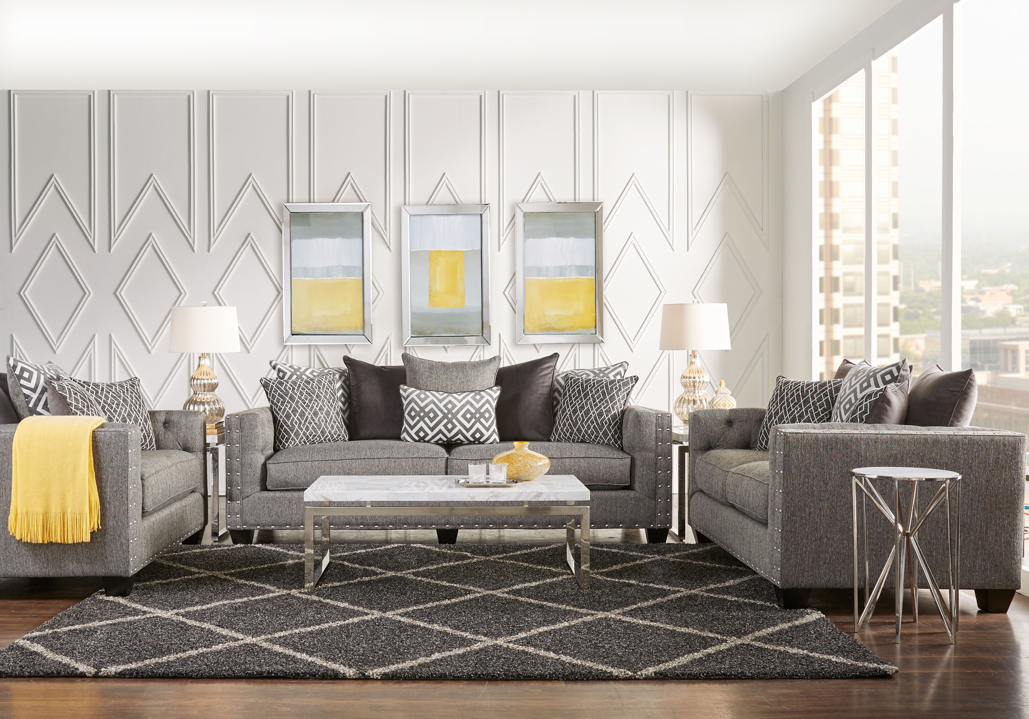 Cindy Crawford Home Chelsea Hills Gray 5 Pc Living Room Living Room Diy Living Room Remodel Living Room Sets Furniture