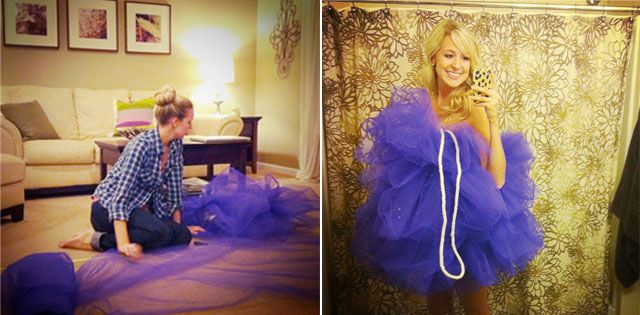 Super Easy DIY Loofah Costume - Love the color and would spray glitter on the tulle to make it look wet
