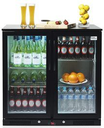 See Through Mini Fridge Stocked With Liquid Labelled Drink Bottles To Give Out At Meetings Bar Fridges Mini Fridge Black Bar