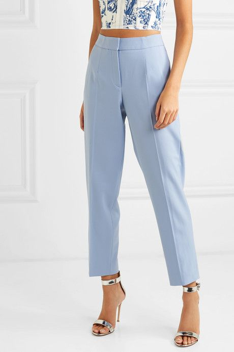 Photo of Cropped Wool-Blend Twill Slim-Leg Pants