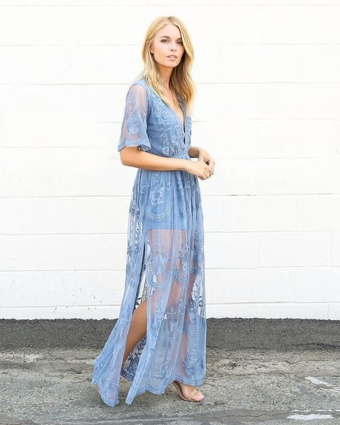 b52607a0d89a Thora Maxi Romper - Dusty Blue