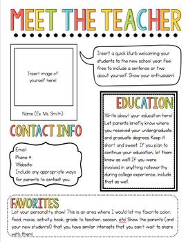Meet The Teacher Newsletter Template To Be Placed Outside Doors