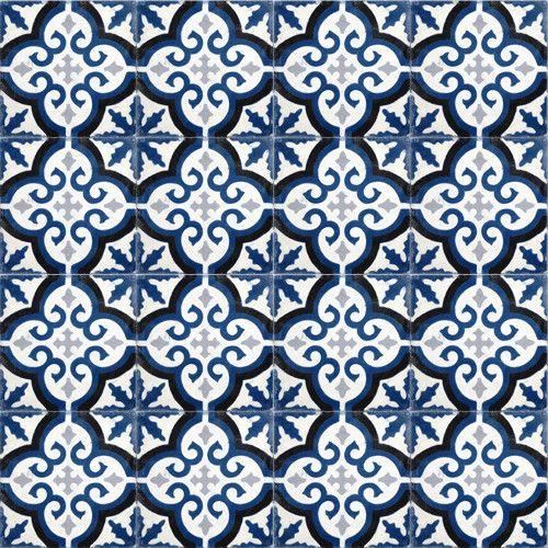 Navy Blue Medallion Cement Tile