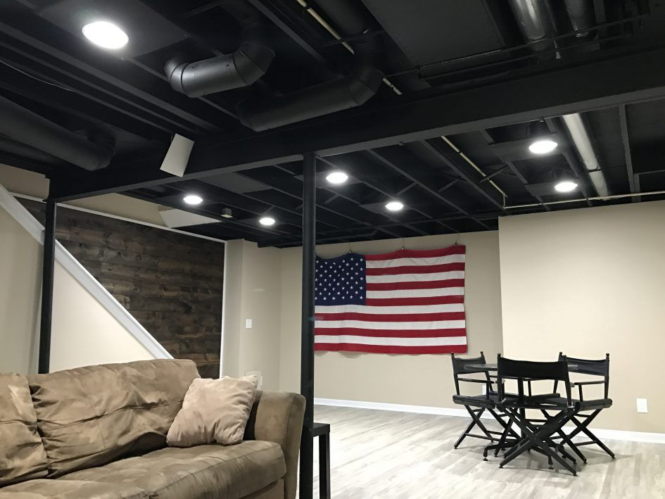 Black Basement Ceiling For Low Ceiling Option Industrial Look