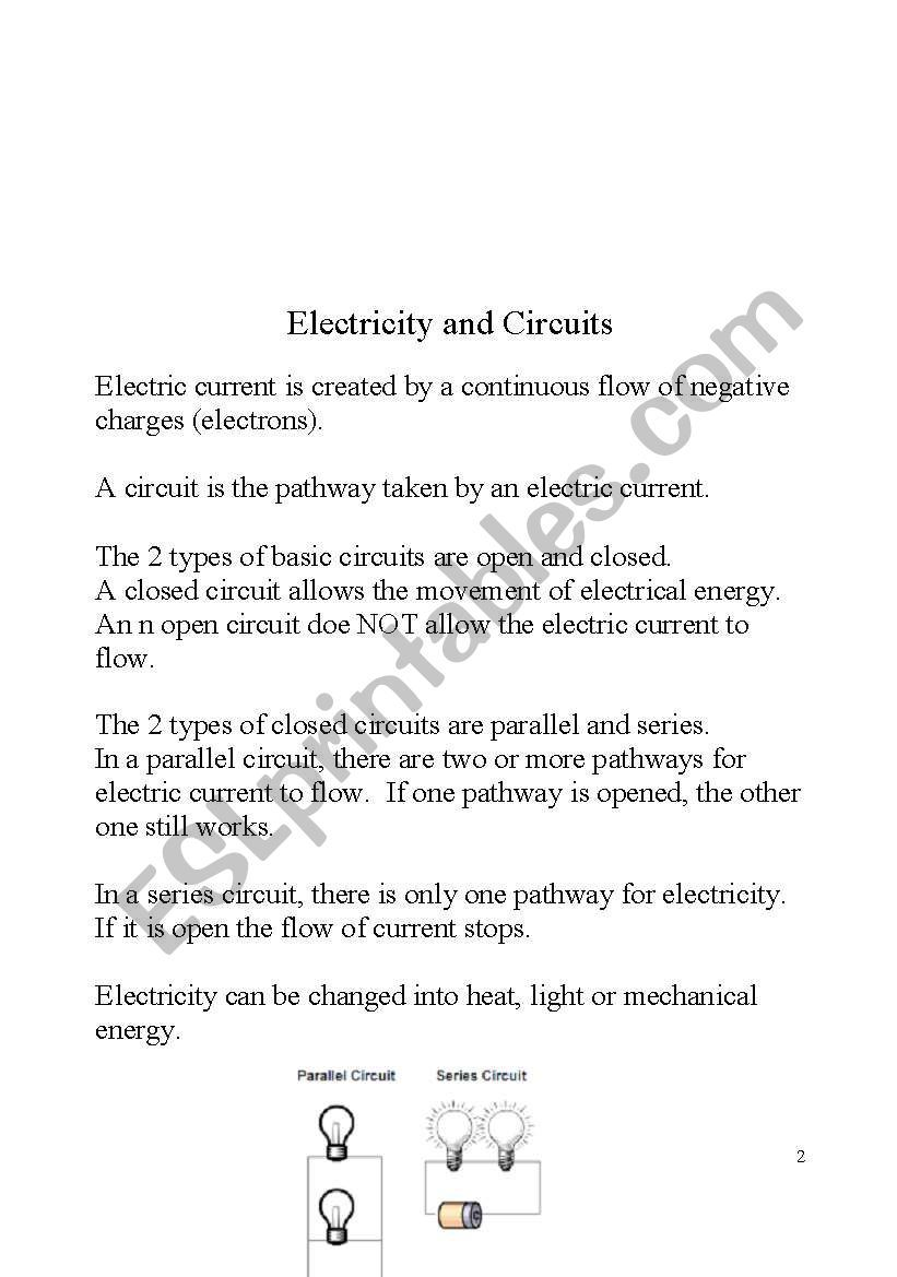 hight resolution of Study guide for Science 4th grade. Electricity. Part 3/8   Study guide