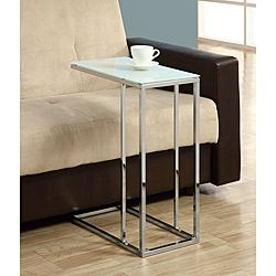 Coaster 900250 Contemporary Snack Table With Gl Top Silver