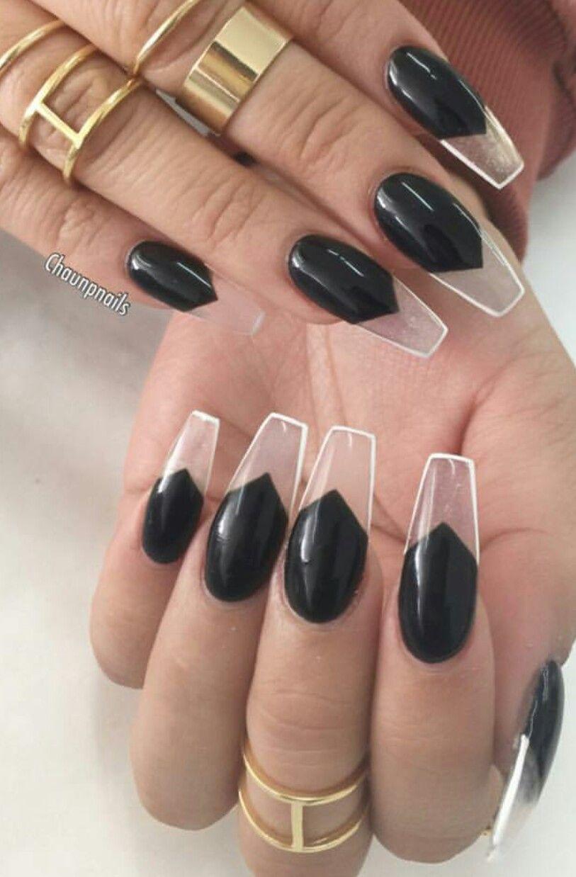 Clear transparent black white outline nails design nailart | Nails ...
