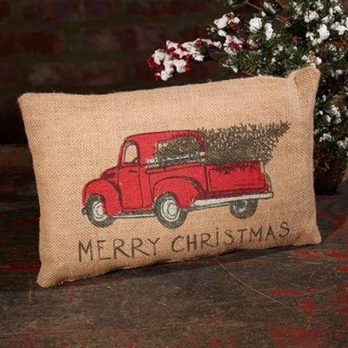 Cute Cute Cute Merry Christmas Red Truck Burlap Pillow