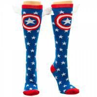 Winged Captain America knee highs for crime fighting legs.