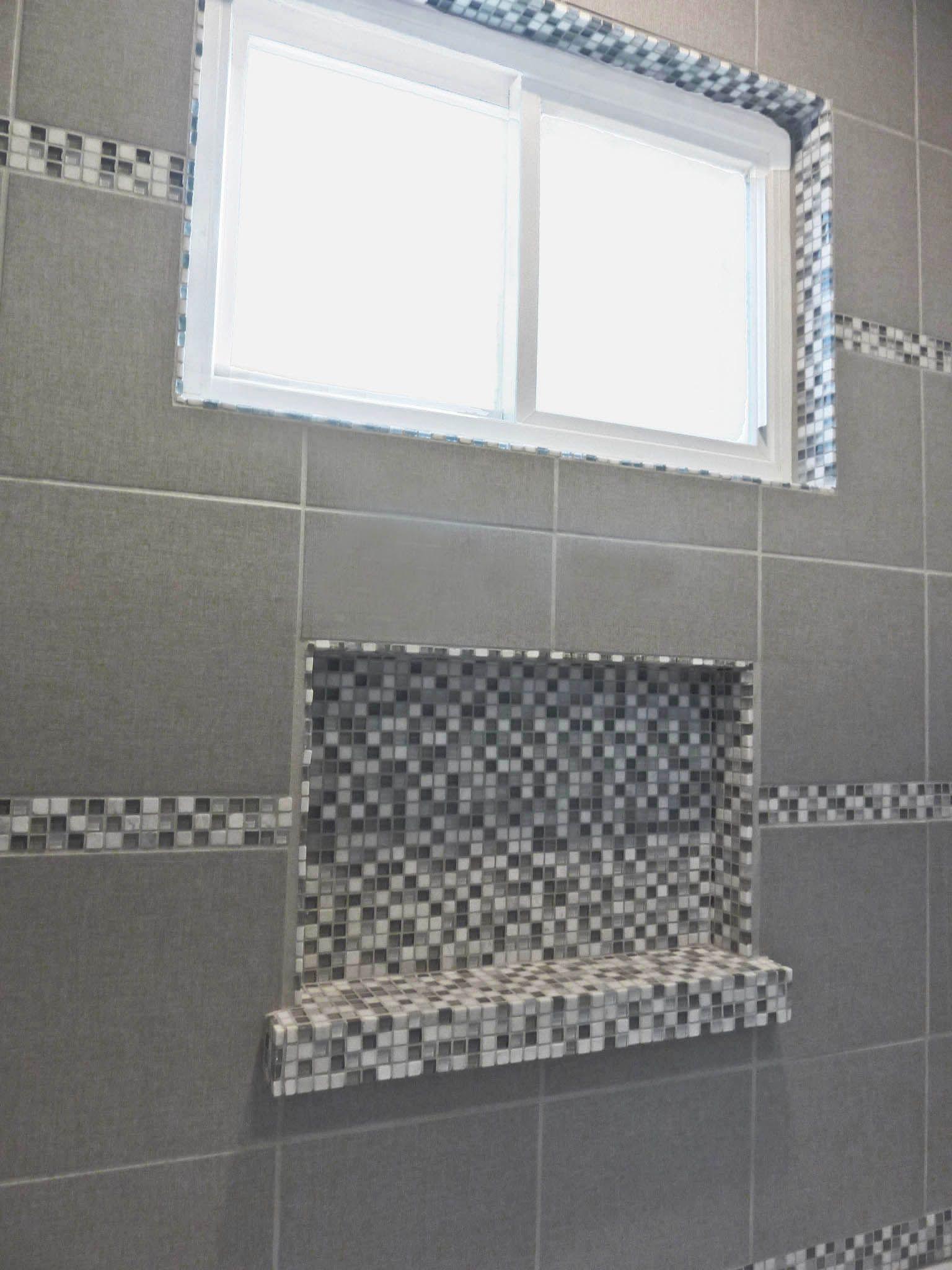 Shower Niche In Glass Mosaic Tile Shower Niche Glass Mosaic