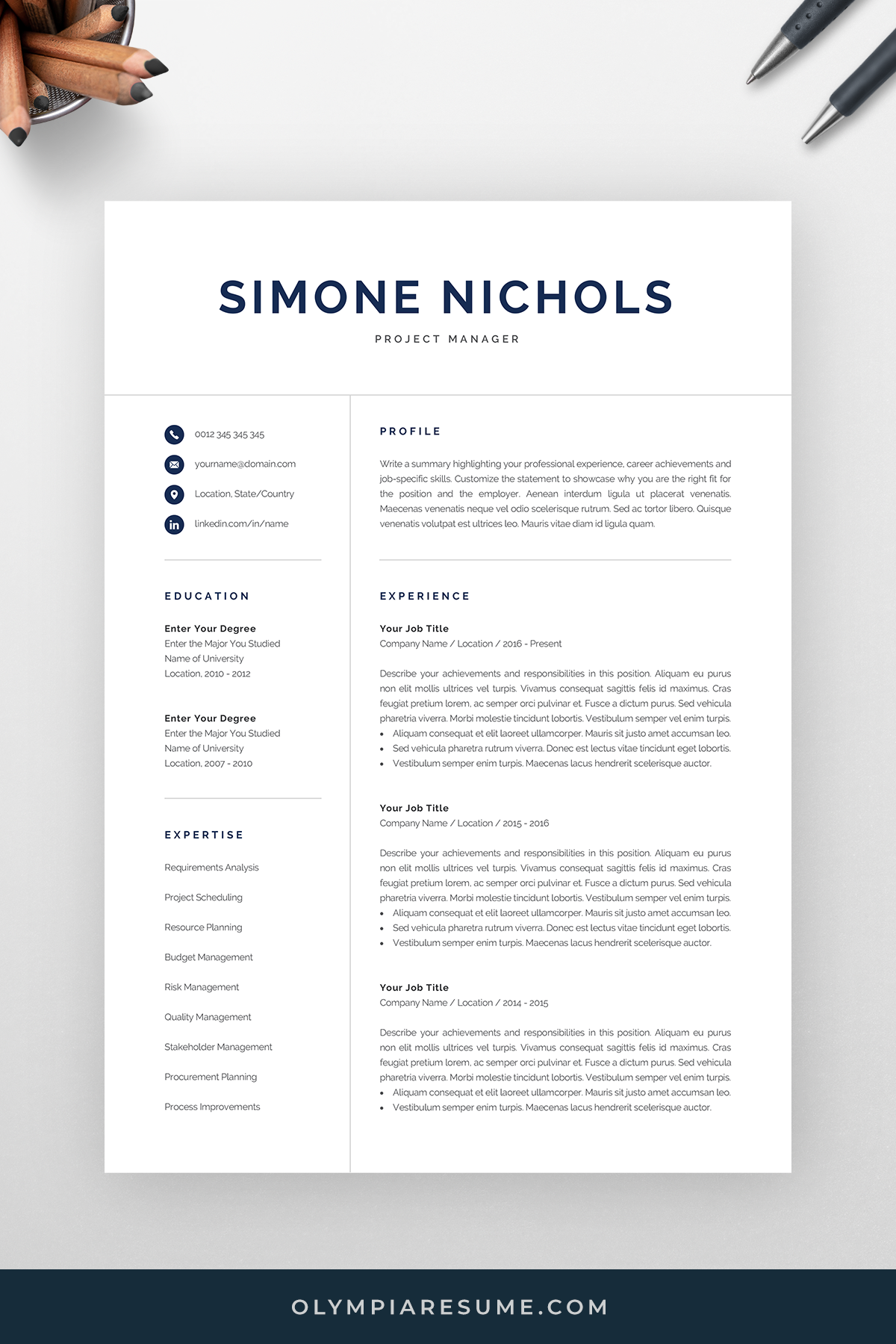 Professional Resume Template For Word Pages Executive Etsy Resume Template Professional Resume Template Word Resume Template