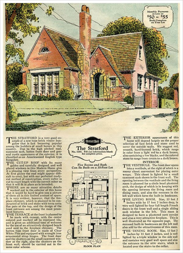 1929 sears brick veneer the stratford vintage house plansvintage homeshouse - Brick English Home Plans