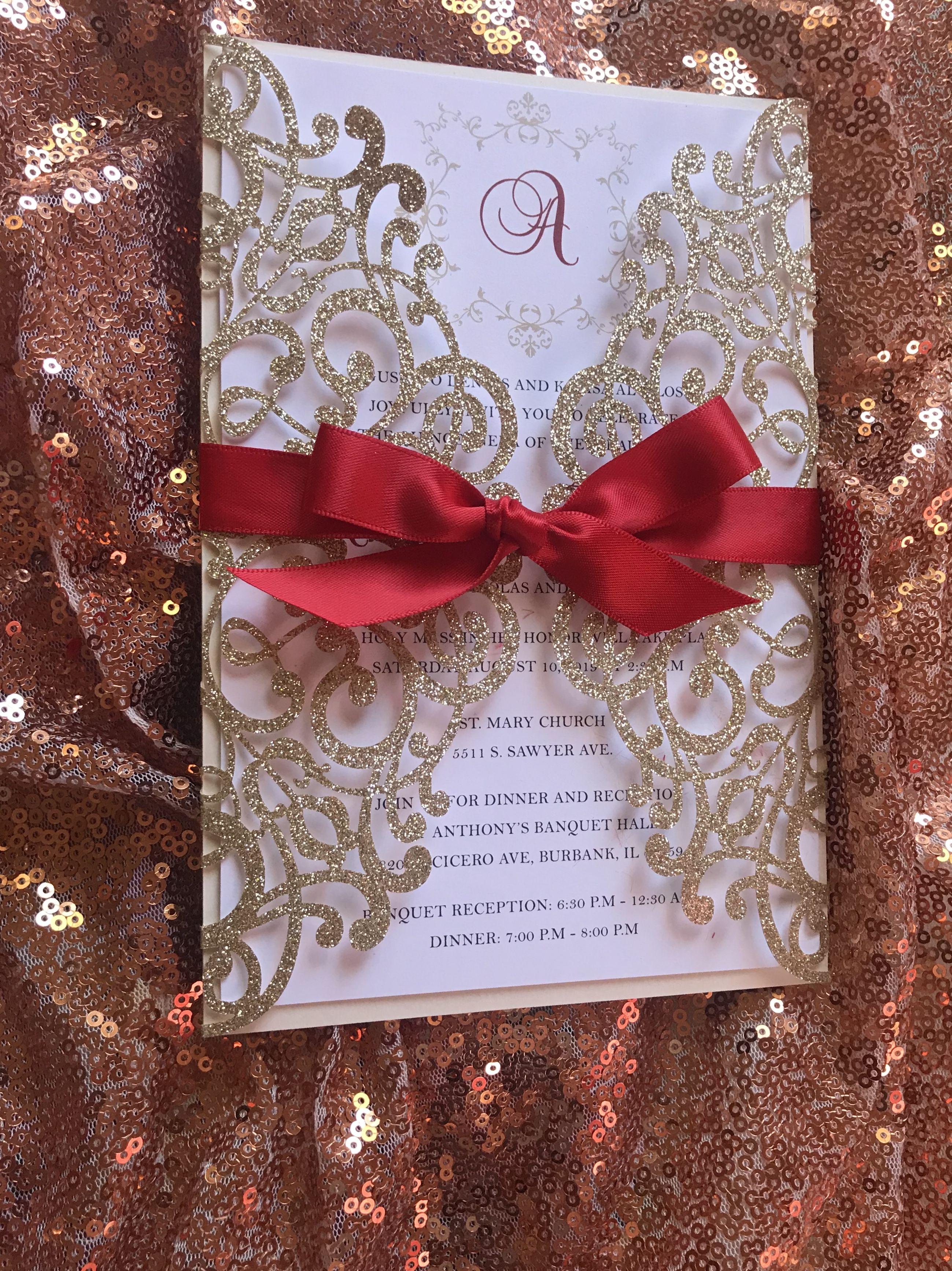 Lace Glitter Paper Laser Cut Wedding Invitations | Wedding ...