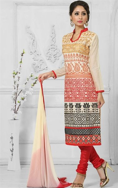 e8cb88bde6 Picture of Flamboyant Cream and Red Indian Salwar Kameez | Cotton ...