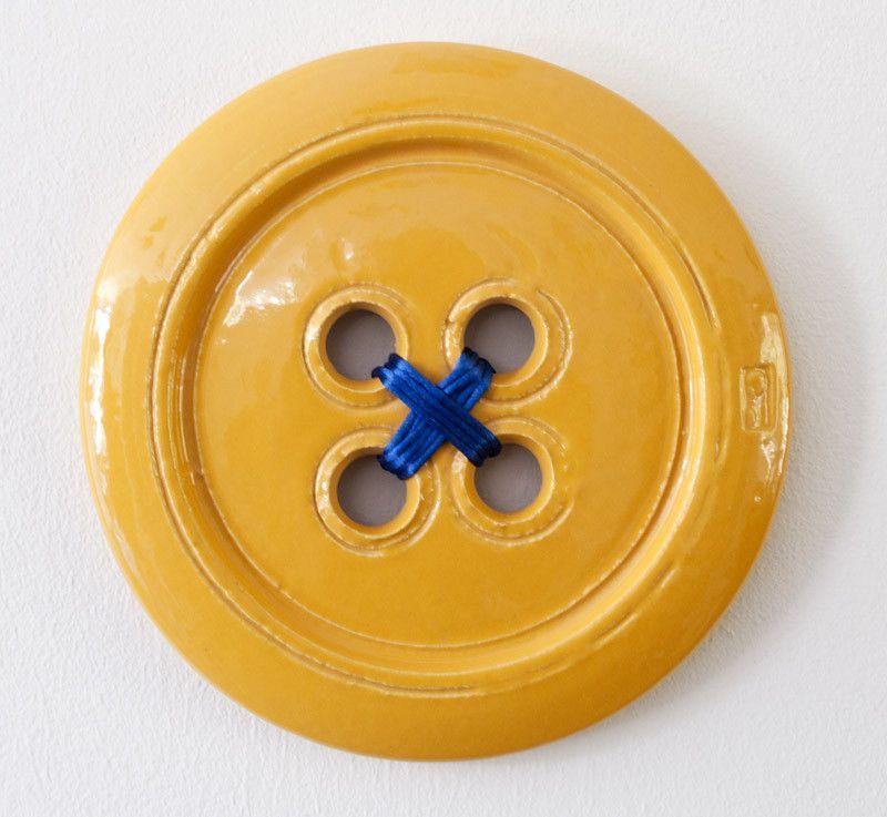 Yellow Ceramic Button 3D Wall Art   3d wall art, 3d wall and 3d