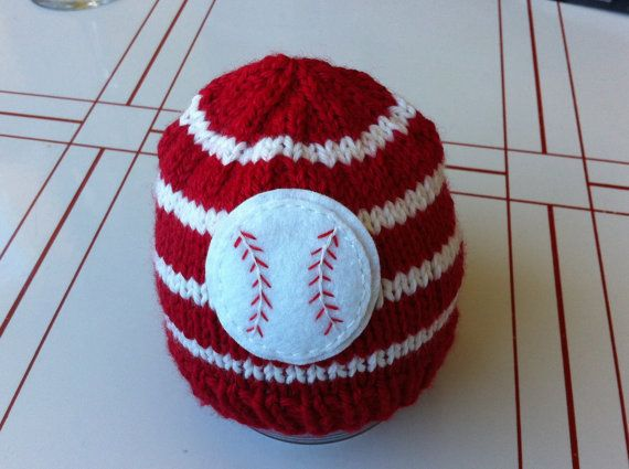 Newborn knit baseball hat by LoveyChild on Etsy, $23.00