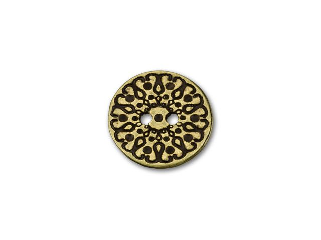 12.3mm Antique Brass-Plated Pewter Scroll and Dots Pattern Round Button