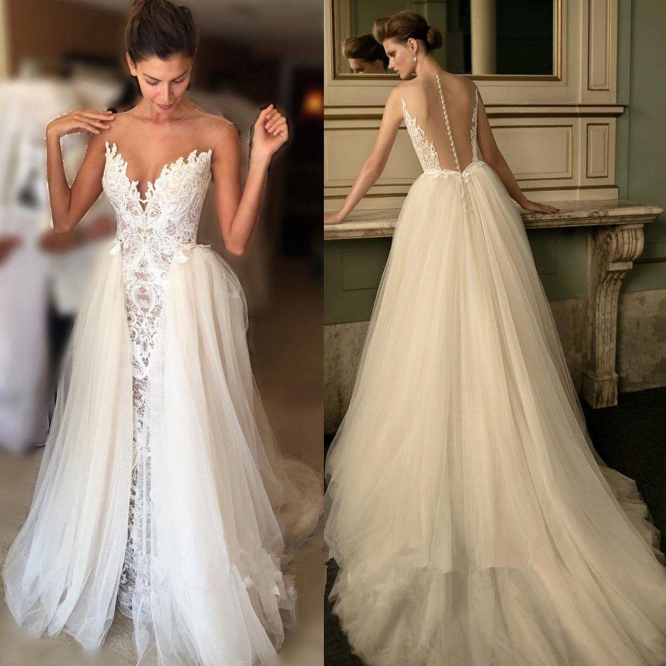 Illusion back lace mermaid wedding dress sleeveless bridal
