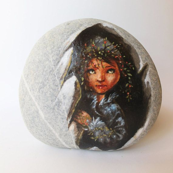 Painted stone painted rocks. Little fairy painting on by sabiesabi