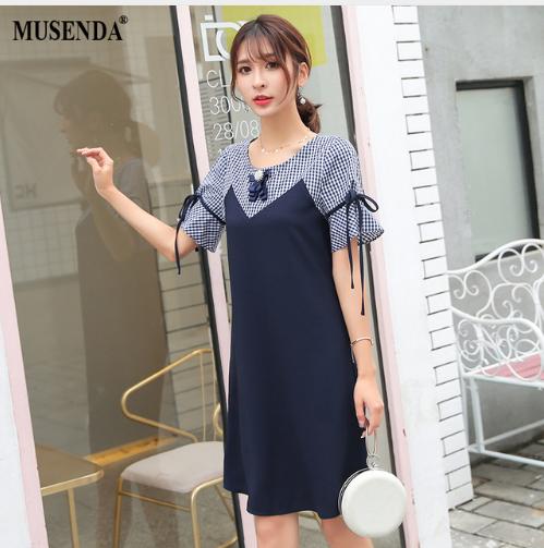 15bf837a43 MUSENDA Plus Size Women Royal Blue Plaid Patchwork Bow Dress 2018 Summer  Sundress Female Ladies Elegant Fashion Dresses Vestido.
