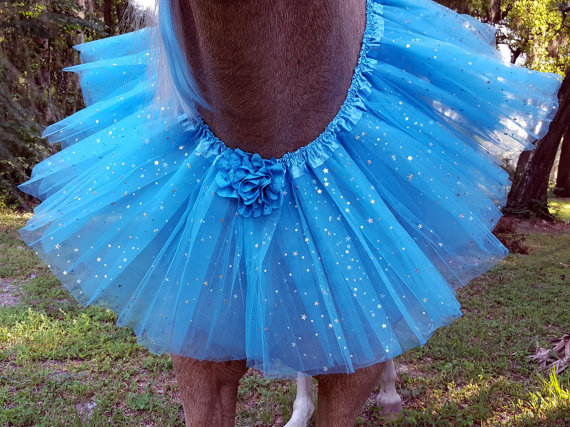 Blue with Silver Stars Tulle Necklace for Horses by MyBuddyBling